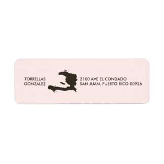 Haiti Map: Personalized: Pink Return Address Label