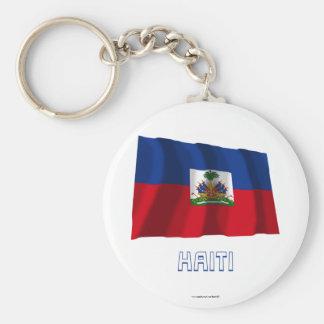 Haiti Waving Flag with Name Basic Round Button Key Ring