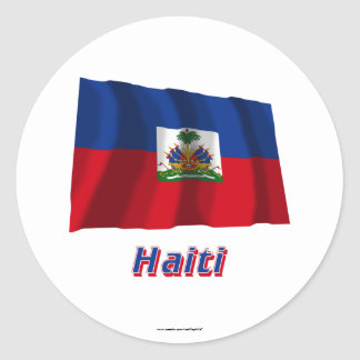 Haiti Waving Flag with Name Classic Round Sticker