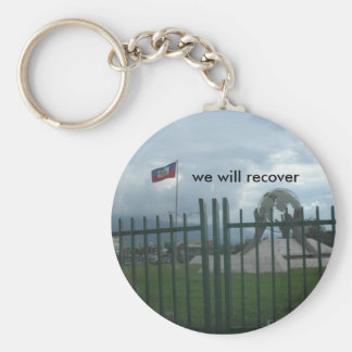 haiti, we will recover basic round button key ring