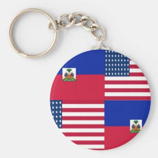 HAITIAN-AMERICAN BASIC ROUND BUTTON KEY RING