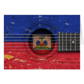 Haitian Flag on Old Acoustic Guitar Greeting Card
