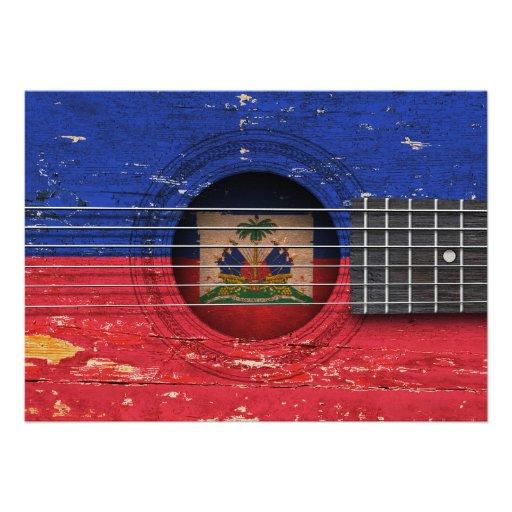 Haitian Flag on Old Acoustic Guitar Card