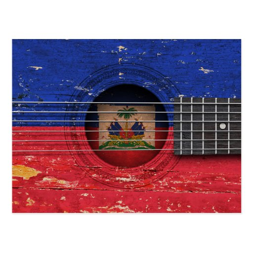 Haitian Flag on Old Acoustic Guitar Post Cards
