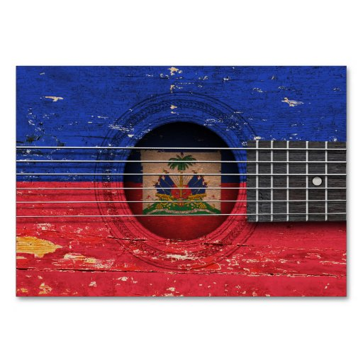 Haitian Flag on Old Acoustic Guitar Table Cards