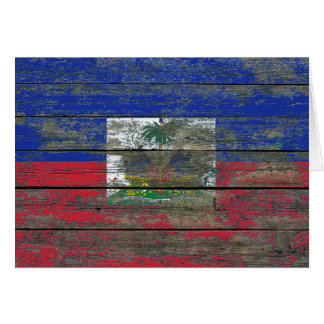 Haitian Flag on Rough Wood Boards Effect Greeting Card