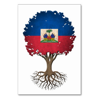 Haitian Flag Tree of Life Customizable Table Cards