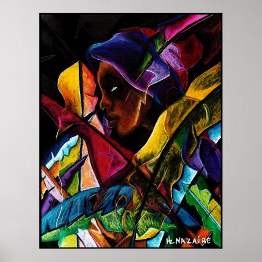 Haitienne en Vitraux IV - entoilage de pastel Poster