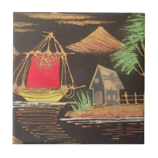 Hakuna Matata Trendy Vintage Sail Ship Safari Nigh Tile