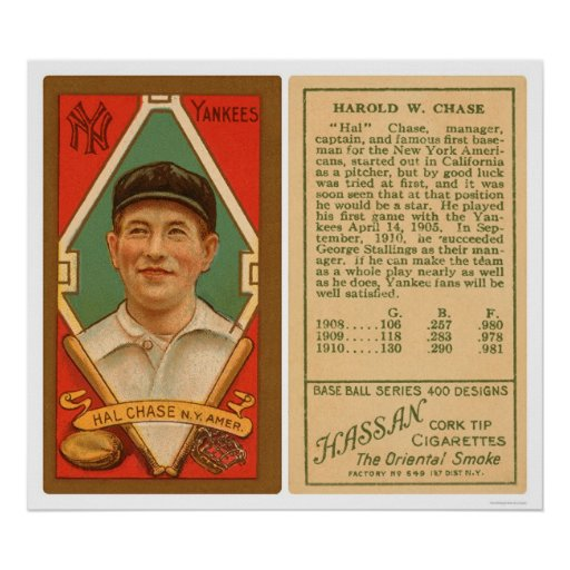 Hal Chase Yankees Baseball 1911 Poster