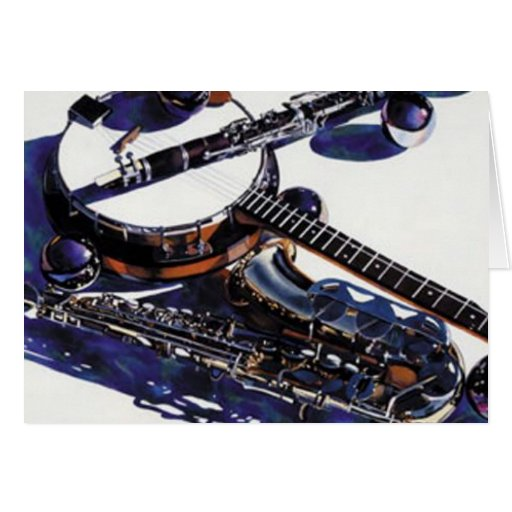 """""""Halcyon Passage"""" Musical Instruments Watercolor Greeting Cards"""