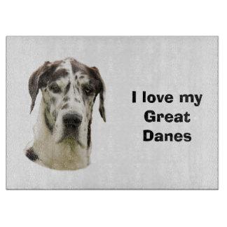 Halequin Great Dane pet photo Cutting Board