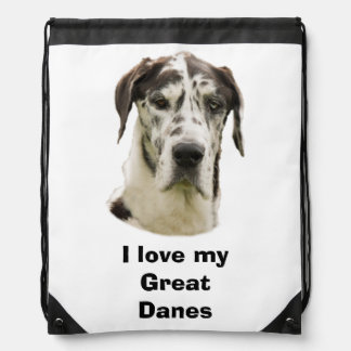 Halequin Great Dane pet photo Drawstring Bag