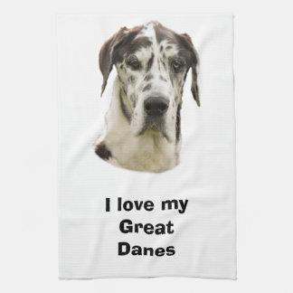 Halequin Great Dane pet photo Tea Towel