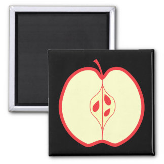 Half a Red Apple. Square Magnet