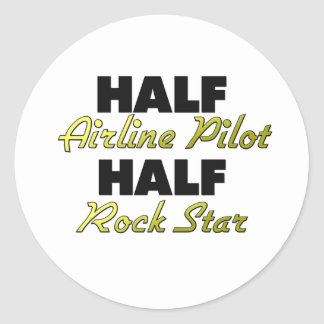 Half Airline Pilot Half Rock Star Round Stickers