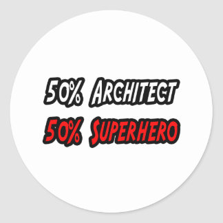 Half Architect Half Superhero Round Sticker