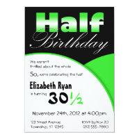 Half birthday cards invitations zazzle half birthday lime green party invitations filmwisefo Images