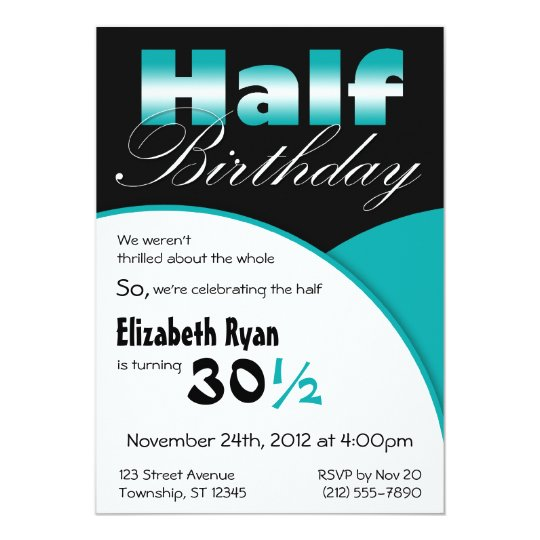 Half-Birthday Teal Party Invitations