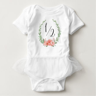 Half Birthday with Floral Wreath Baby Bodysuit