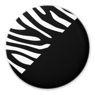 Half Black and Half Zebra Stripe Graphic Pattern Ceramic Knob