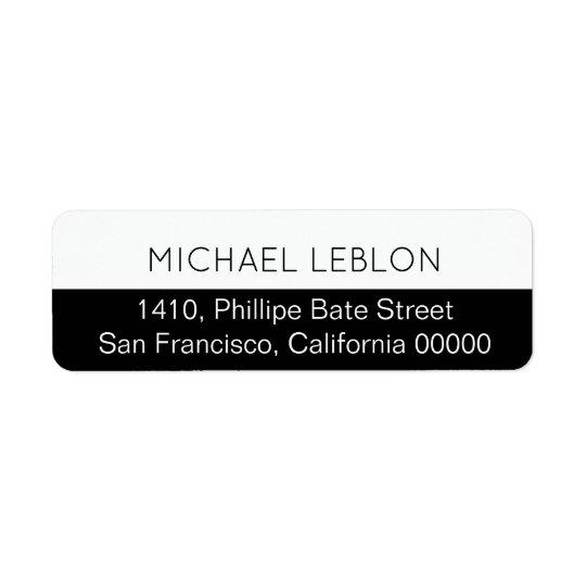 half black return address label with name