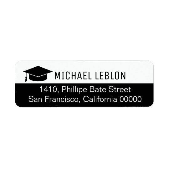 half black return address label with name grad