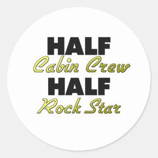 Half Cabin Crew Half Rock Star Classic Round Sticker