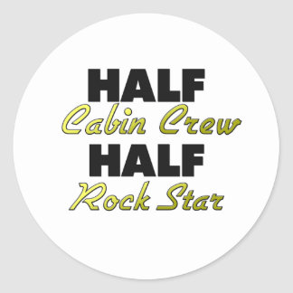 Half Cabin Crew Half Rock Star Round Sticker