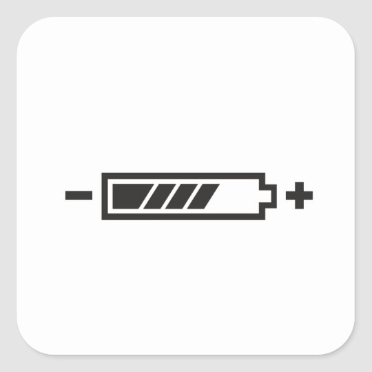 HALF CHARGE BATTERY SQUARE STICKER