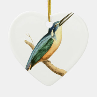 Half-collared Kingsfisher Bird Illustration by Wil Christmas Ornament