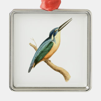Half-collared Kingsfisher Silver-Colored Square Decoration