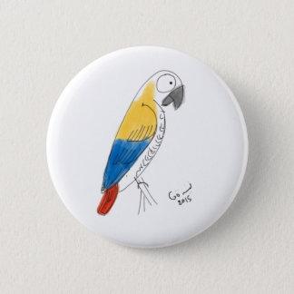 half color parrot 6 cm round badge