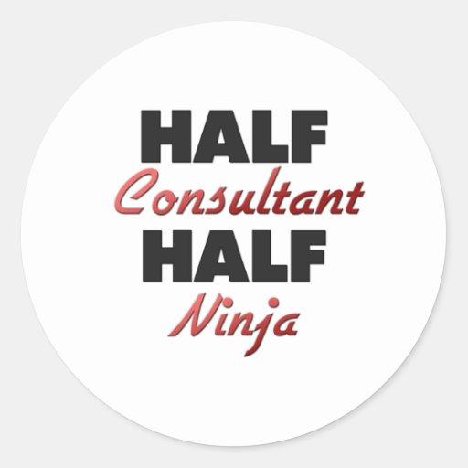 Half Consultant Half Ninja Round Stickers