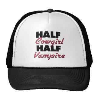 Half Cowgirl Half Vampire Trucker Hats