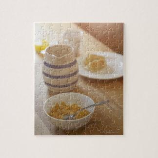 Half eaten breakfast on kitchen table puzzle