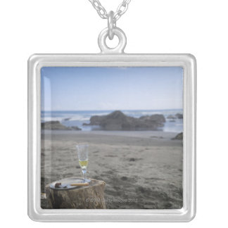 Half-eaten meat and champagne silver plated necklace