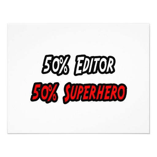 Half Editor Half Superhero Personalized Invitations