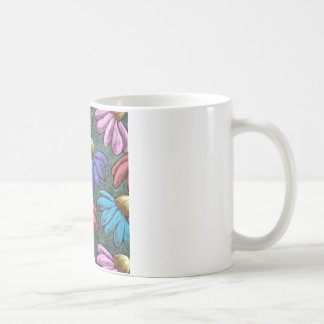 half flowers basic white mug