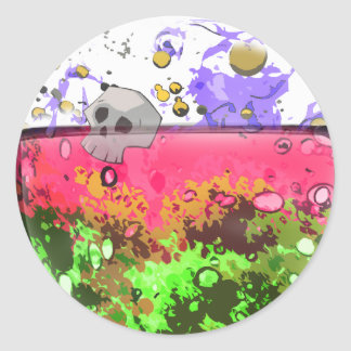 Half full glass of poison stickers