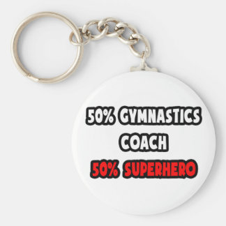 Half Gymnastics Coach ... Half Superhero Basic Round Button Key Ring