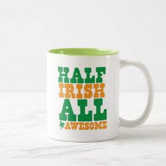 HALF IRISH ALL AWESOME funny St Patrick's day Two-Tone Mug