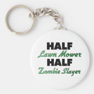 Half Lawn Mower Half Zombie Slayer Basic Round Button Key Ring
