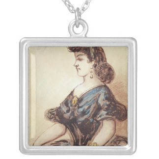 Half length portrait of a woman silver plated necklace