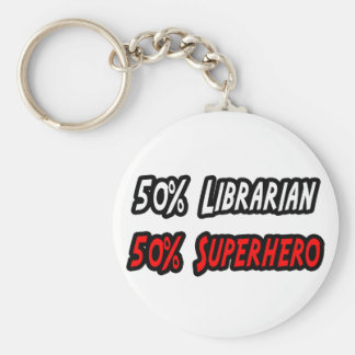 Half Librarian Half Superhero Key Ring
