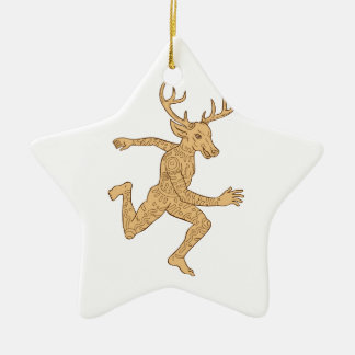 Half Man Half Deer With Tattoos Running Ceramic Star Decoration