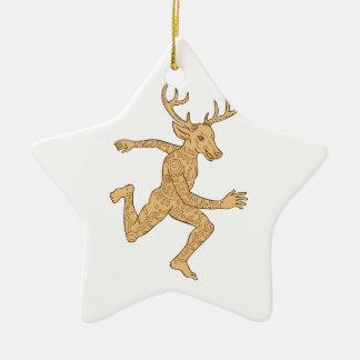 Half Man Half Deer With Tattoos Running Ceramic Star Decoration