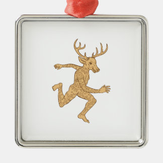 Half Man Half Deer With Tattoos Running Silver-Colored Square Decoration
