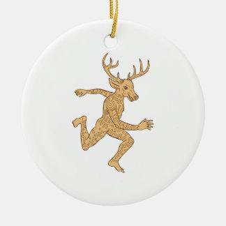 Half Man Half Deer With Tattoos Running Round Ceramic Decoration
