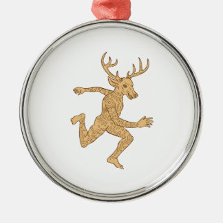 Half Man Half Deer With Tattoos Running Silver-Colored Round Decoration